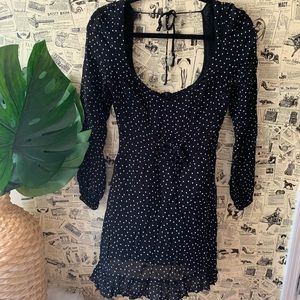 Reformation new polka long sleeve dress black 6